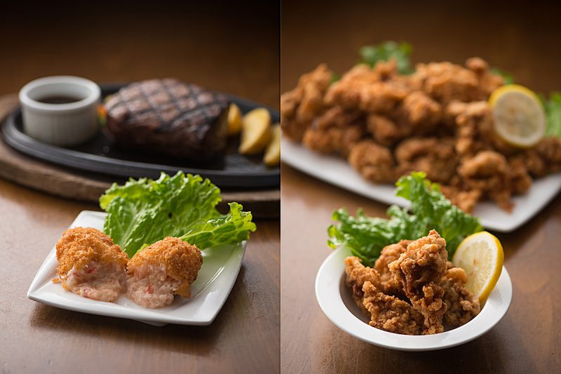 鶏のから揚げとカニクリームコロッケ
